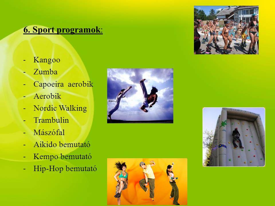 6. Sport programok: Kangoo Zumba Capoeira aerobik Aerobik