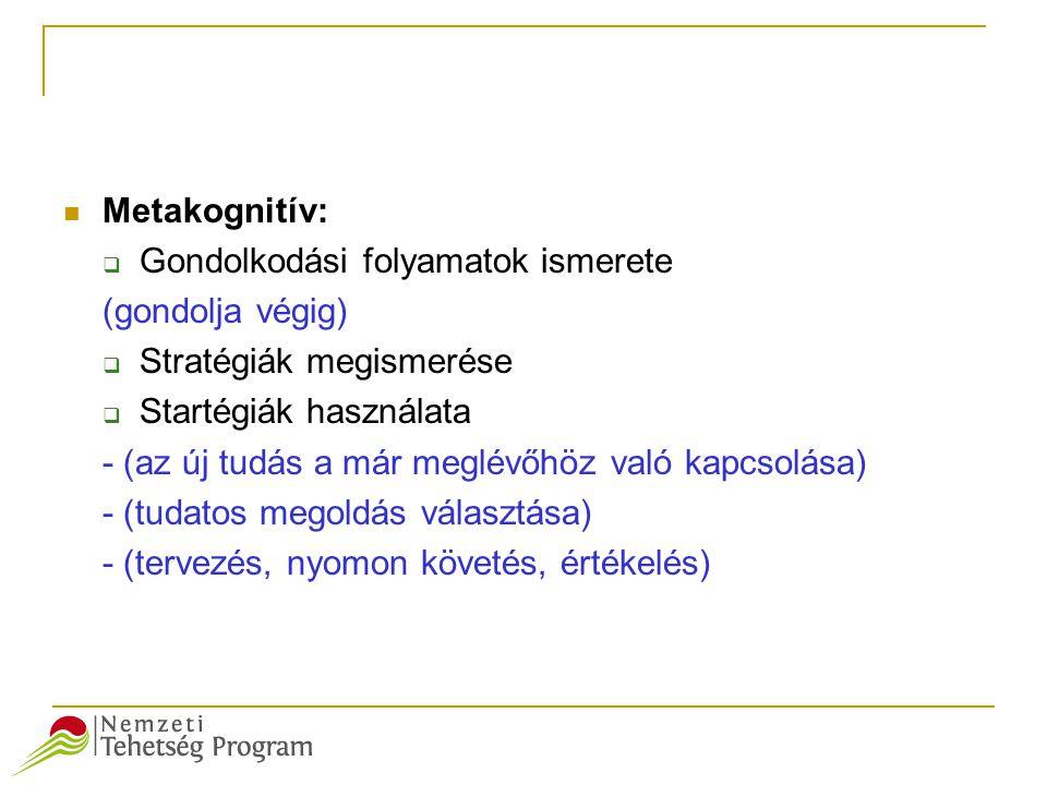 Metakognitív: Gondolkodási folyamatok ismerete. (gondolja végig) Stratégiák megismerése. Startégiák használata.