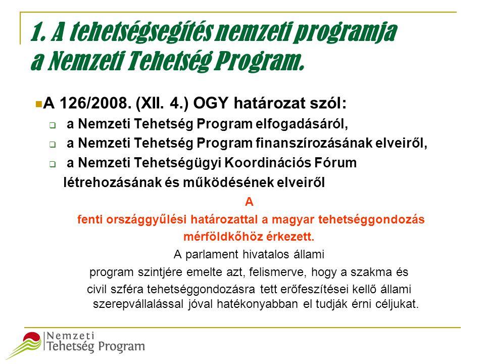 1. A tehetségsegítés nemzeti programja a Nemzeti Tehetség Program.
