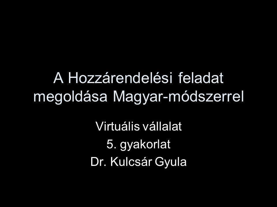 A Hozzárendelési feladat megoldása Magyar-módszerrel