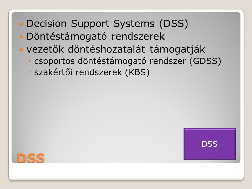 DSS Decision Support Systems (DSS) Döntéstámogató rendszerek