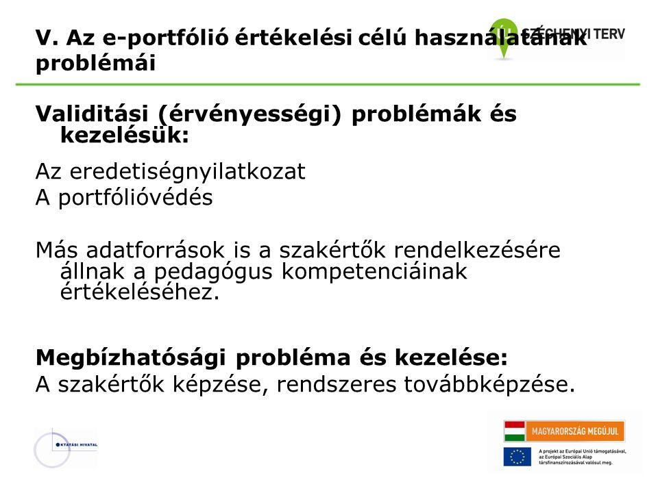 V. Az e-portfólió értékelési célú használatának problémái