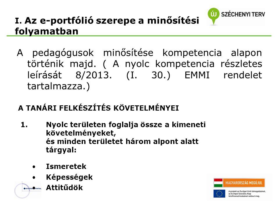 I. Az e-portfólió szerepe a minősítési folyamatban