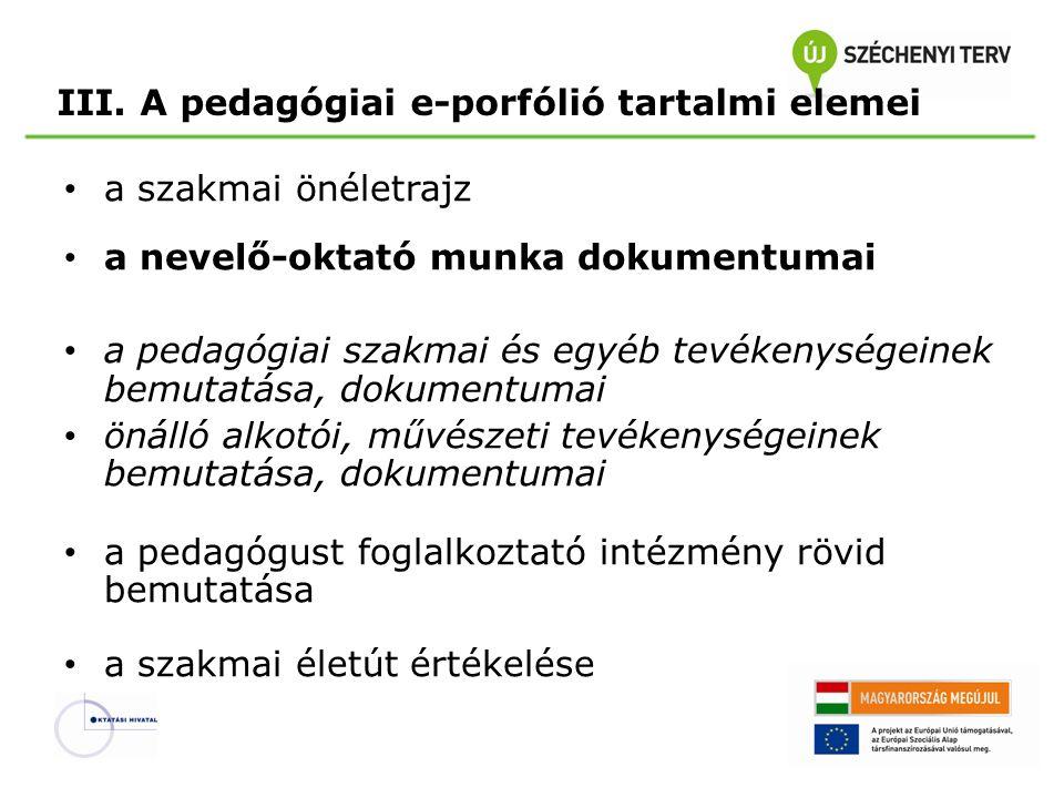 III. A pedagógiai e-porfólió tartalmi elemei