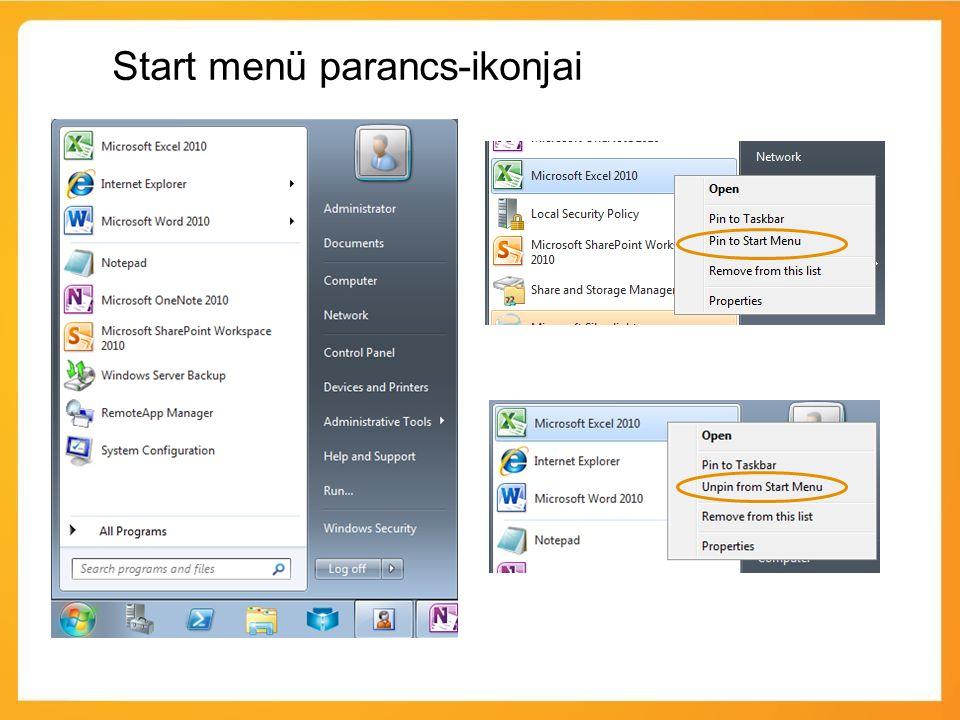 Start menü parancs-ikonjai