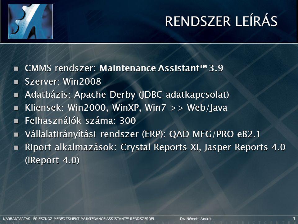 RENDSZER LEÍRÁS CMMS rendszer: Maintenance Assistant™ 3.9