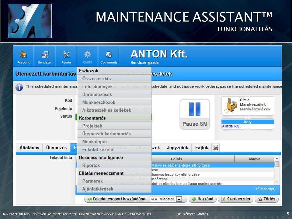 Maintenance Assistant™ FUNKCIONALITÁS
