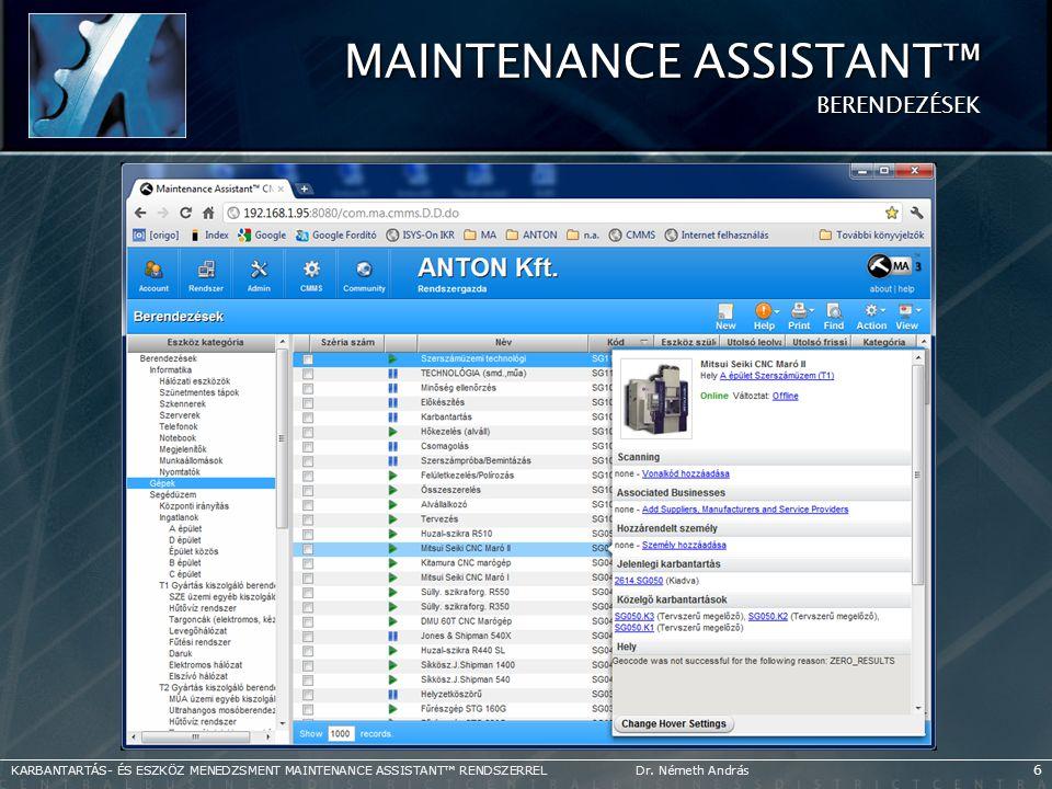 Maintenance Assistant™ Berendezések