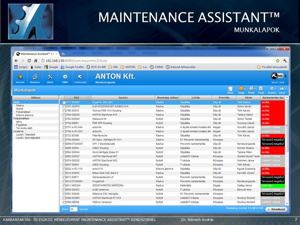 Maintenance Assistant™ MUNKALAPOK