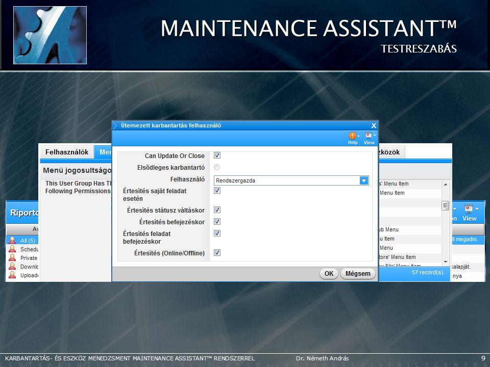 Maintenance Assistant™ TESTRESZABÁS