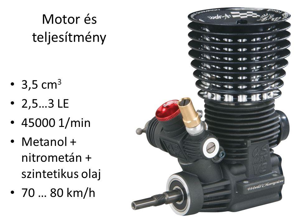 Motor és teljesítmény 3,5 cm3 2,5…3 LE 45000 1/min