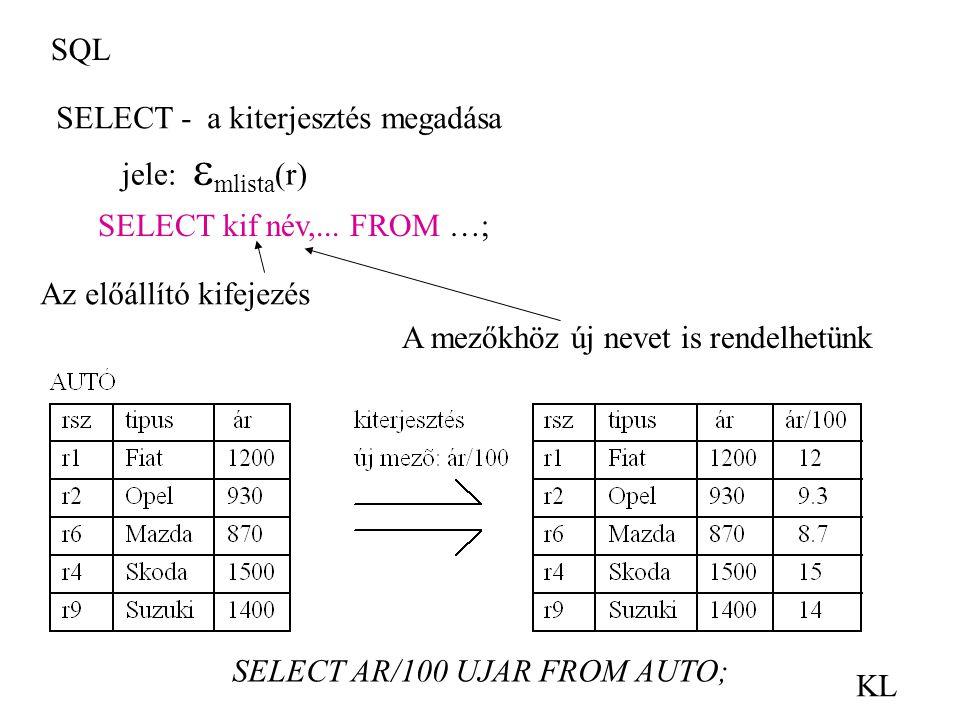 SQL SELECT - a kiterjesztés megadása. jele: mlista(r) SELECT kif név,... FROM …; Az előállító kifejezés.