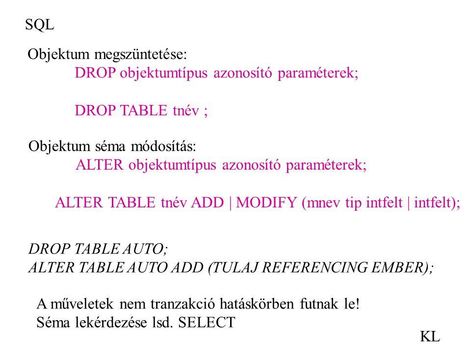 SQL Objektum megszüntetése: DROP objektumtípus azonosító paraméterek; DROP TABLE tnév ; Objektum séma módosítás: