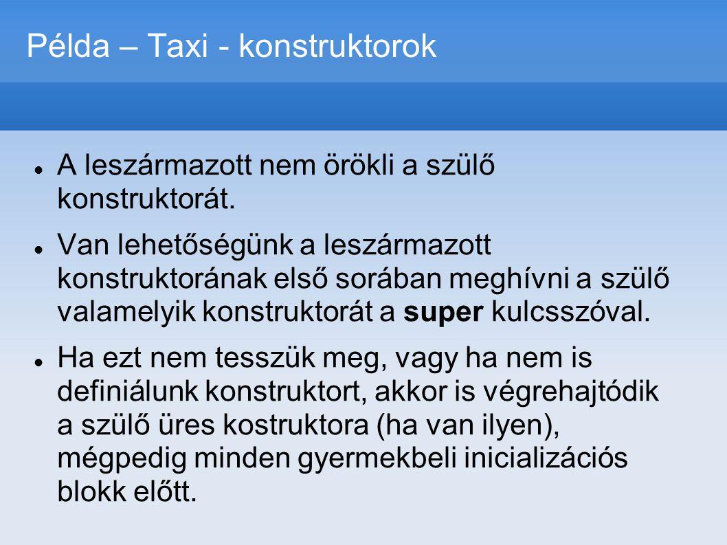 Példa – Taxi - konstruktorok