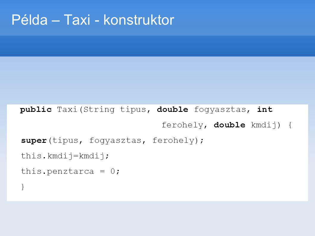 Példa – Taxi - konstruktor