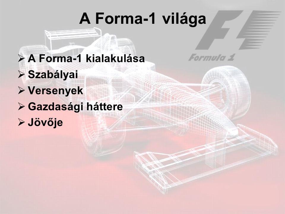 A Forma-1 világa A Forma-1 kialakulása Szabályai Versenyek