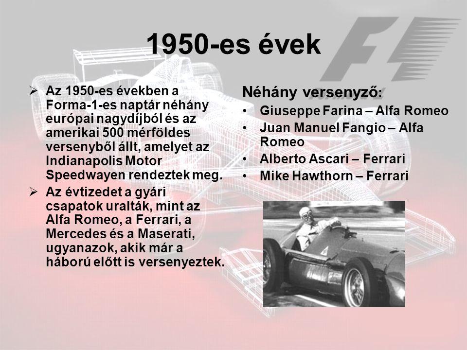1950-es évek Néhány versenyző: