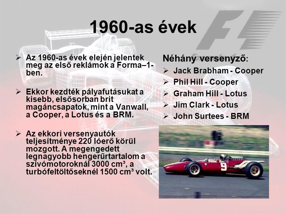 1960-as évek Néhány versenyző: