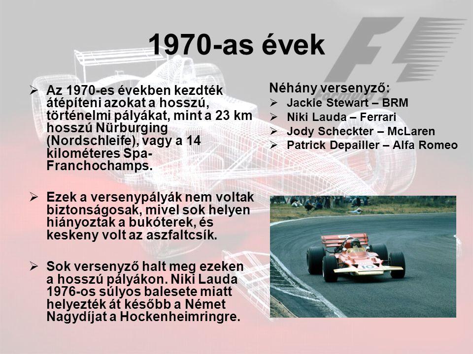 1970-as évek Néhány versenyző: