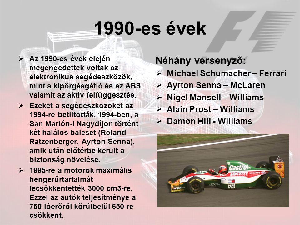 1990-es évek Néhány versenyző: Michael Schumacher – Ferrari