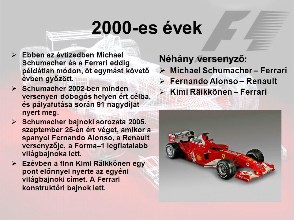 2000-es évek Néhány versenyző: Michael Schumacher – Ferrari