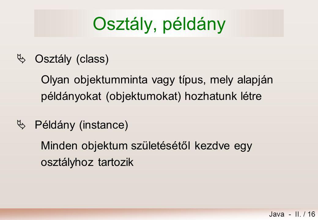 Osztály, példány Osztály (class)