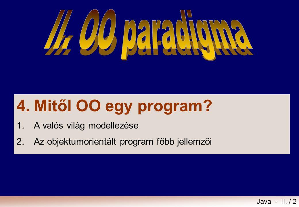 4. Mitől OO egy program II. OO paradigma 1. A valós világ modellezése