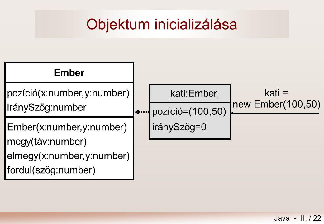 Objektum inicializálása