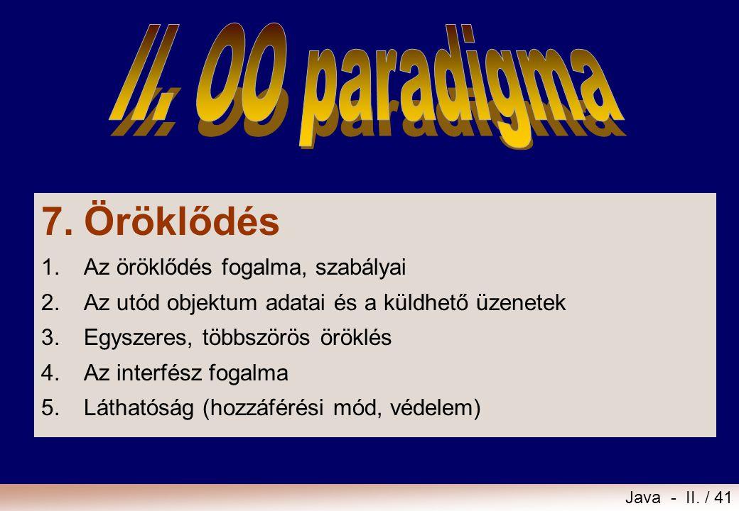 7. Öröklődés II. OO paradigma 1. Az öröklődés fogalma, szabályai