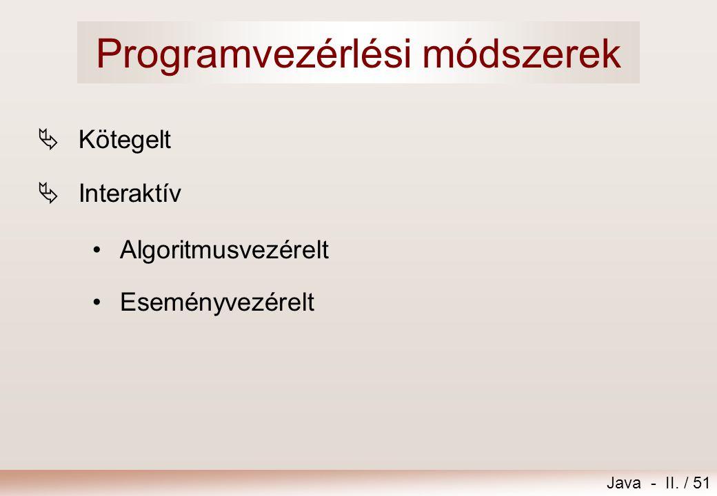 Programvezérlési módszerek