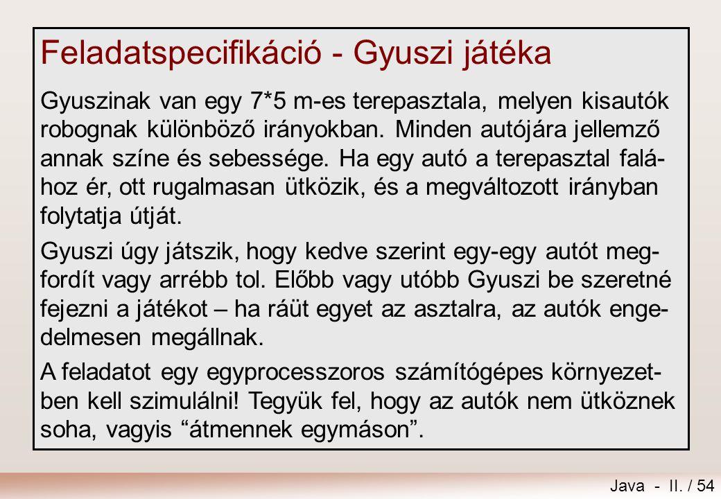 Feladatspecifikáció - Gyuszi játéka