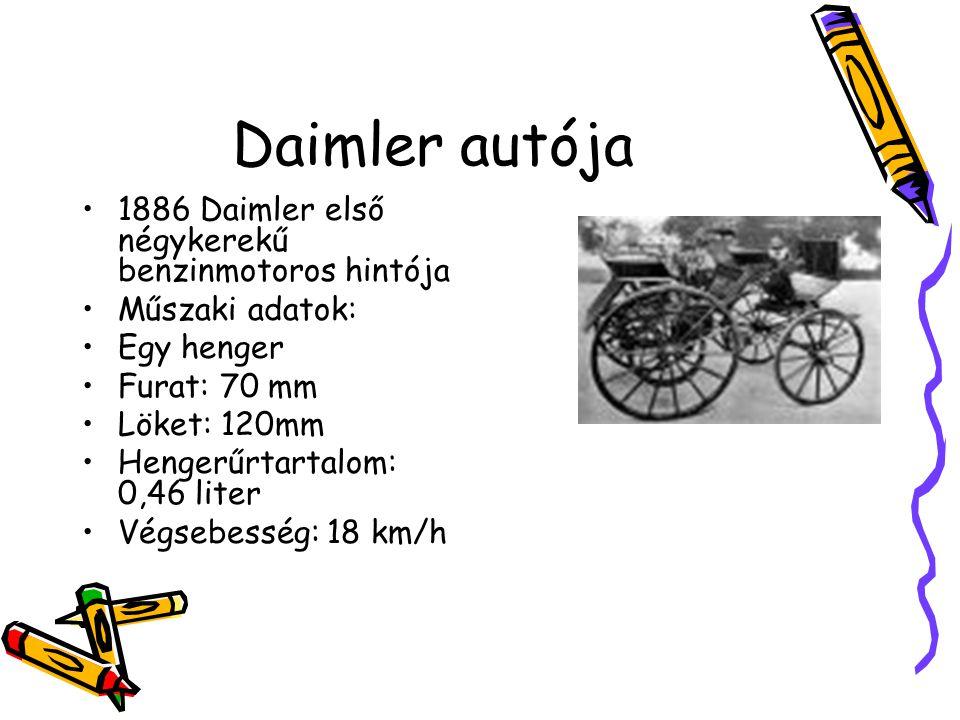 Daimler autója 1886 Daimler első négykerekű benzinmotoros hintója