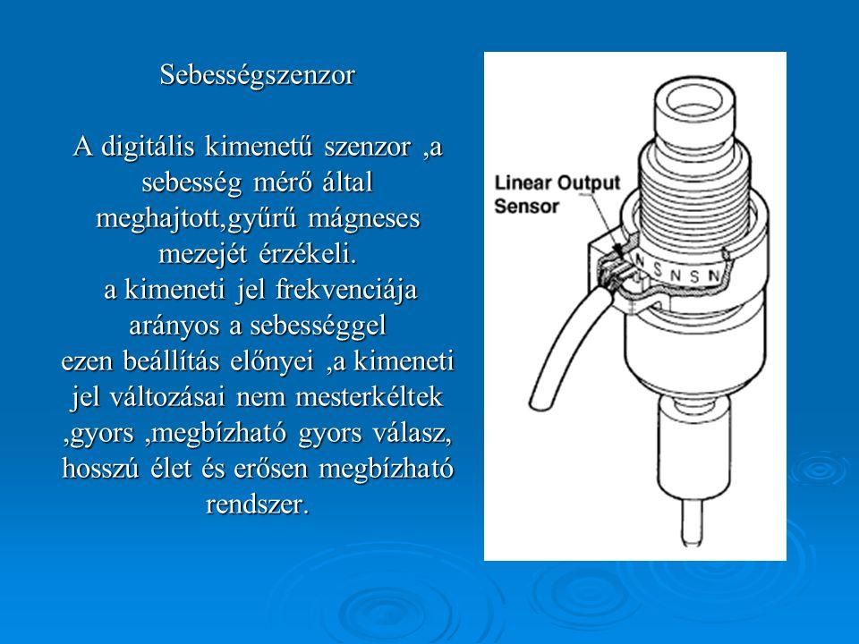 Sebességszenzor A digitális kimenetű szenzor ,a sebesség mérő által meghajtott,gyűrű mágneses mezejét érzékeli.