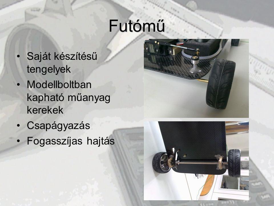 Futómű Saját készítésű tengelyek Modellboltban kapható műanyag kerekek
