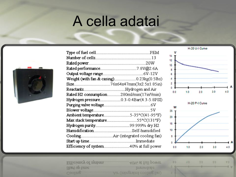 A cella adatai Itt a cella technikai leírása látható.