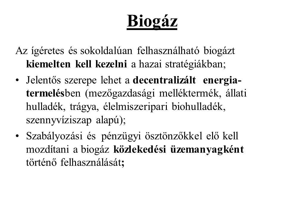 Biogáz Az ígéretes és sokoldalúan felhasználható biogázt kiemelten kell kezelni a hazai stratégiákban;