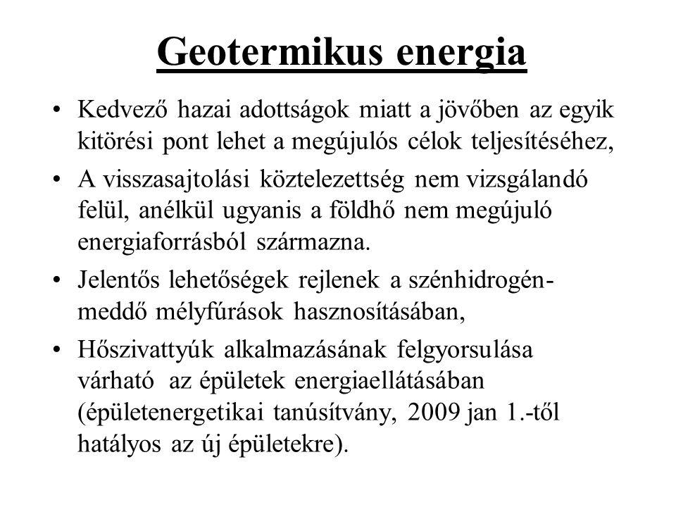 Geotermikus energia Kedvező hazai adottságok miatt a jövőben az egyik kitörési pont lehet a megújulós célok teljesítéséhez,