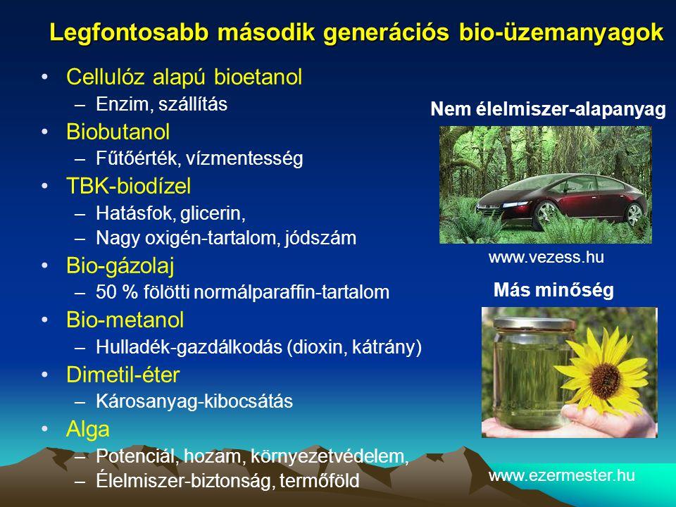 Legfontosabb második generációs bio-üzemanyagok