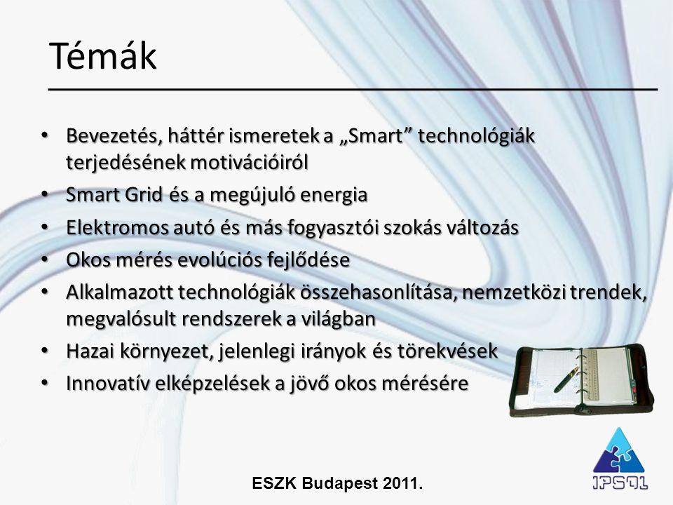 """Témák Bevezetés, háttér ismeretek a """"Smart technológiák terjedésének motivációiról. Smart Grid és a megújuló energia."""