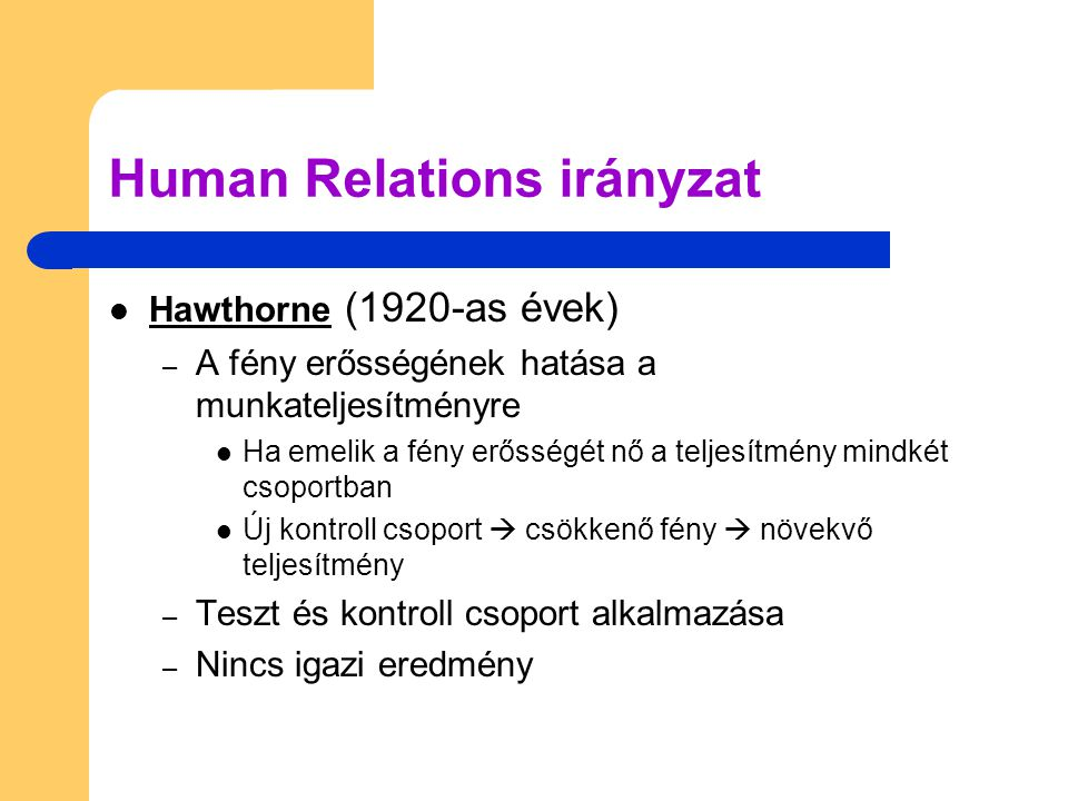 Human Relations irányzat