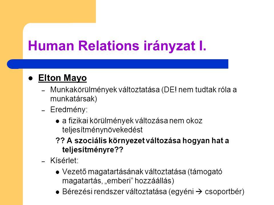 Human Relations irányzat I.