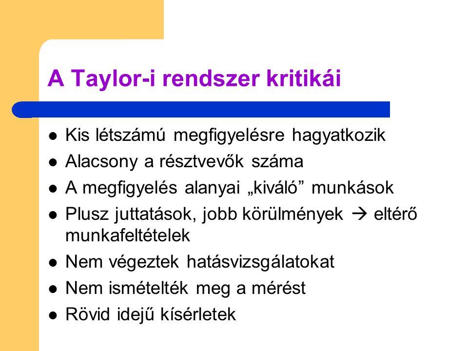 A Taylor-i rendszer kritikái