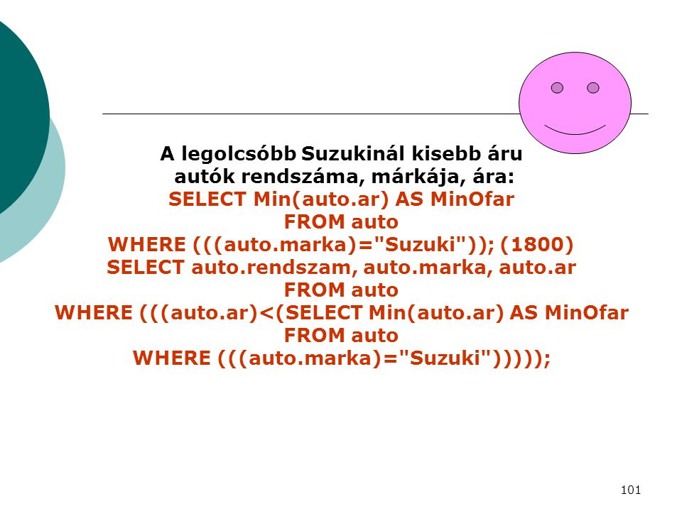WHERE (((auto.marka)= Suzuki )))));