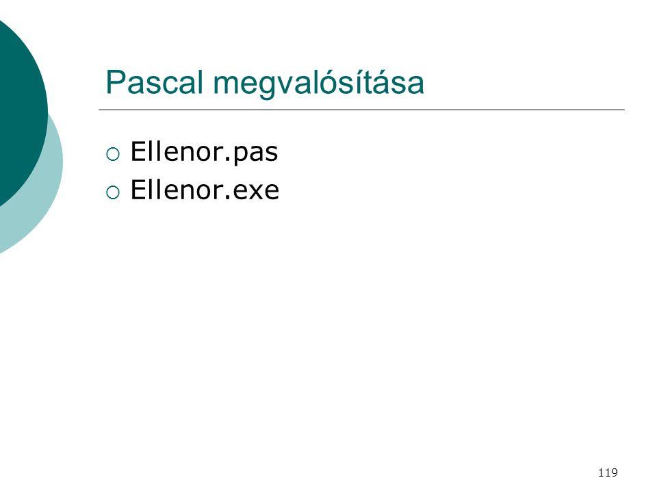 Pascal megvalósítása Ellenor.pas Ellenor.exe