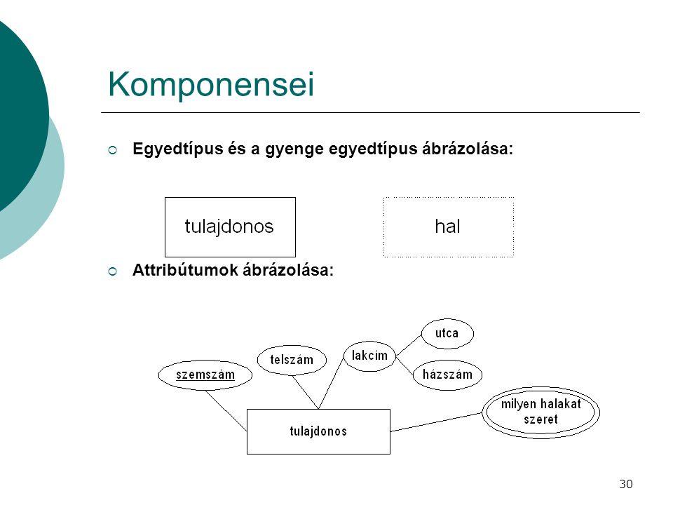 Komponensei Egyedtípus és a gyenge egyedtípus ábrázolása: