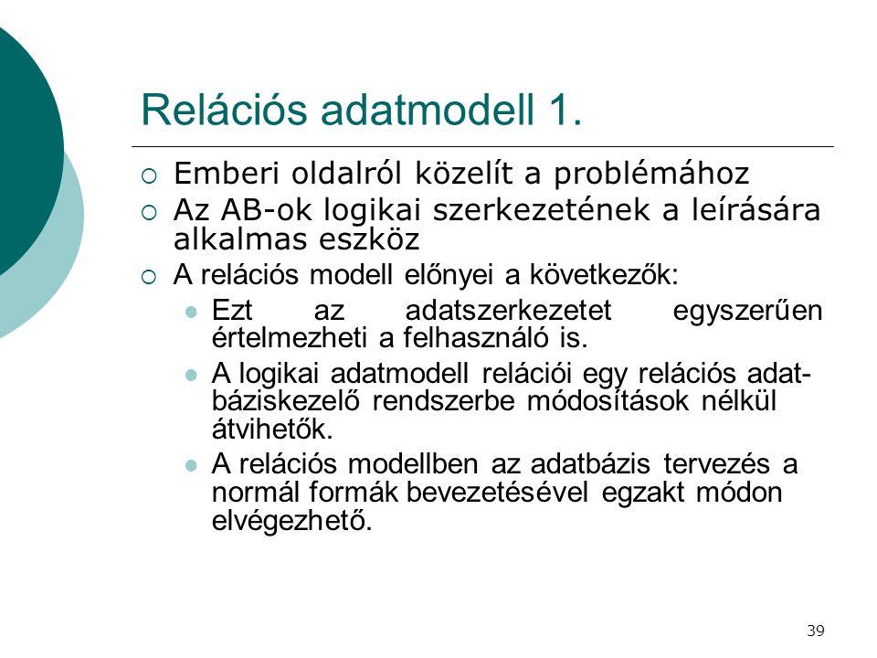 Relációs adatmodell 1. Emberi oldalról közelít a problémához