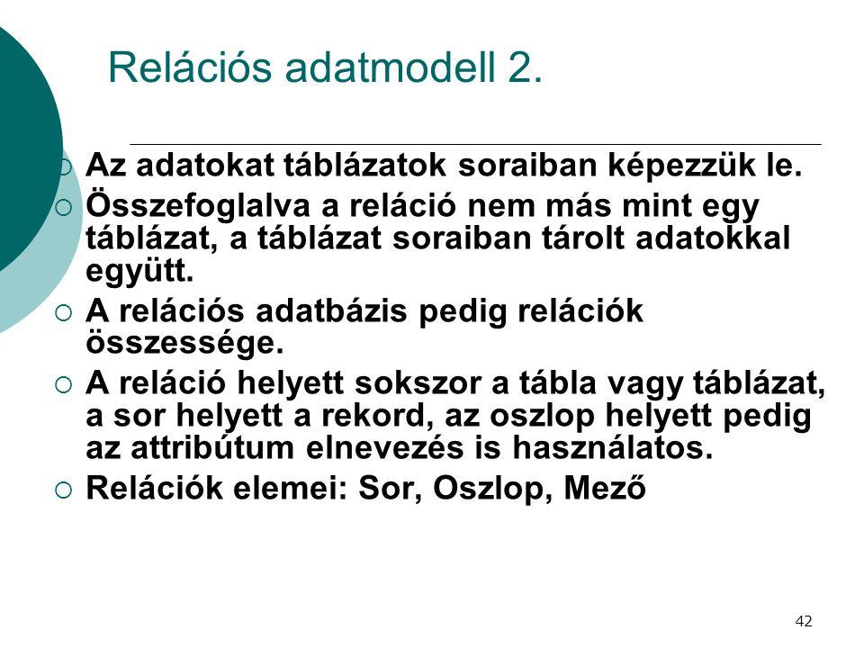 Relációs adatmodell 2. Az adatokat táblázatok soraiban képezzük le.