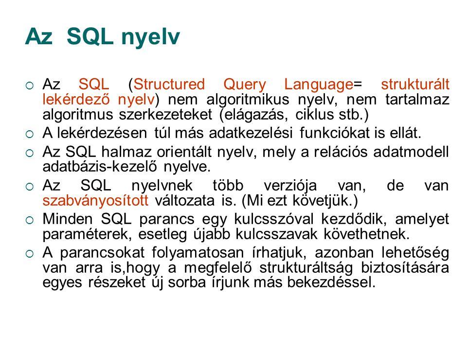 Az SQL nyelv