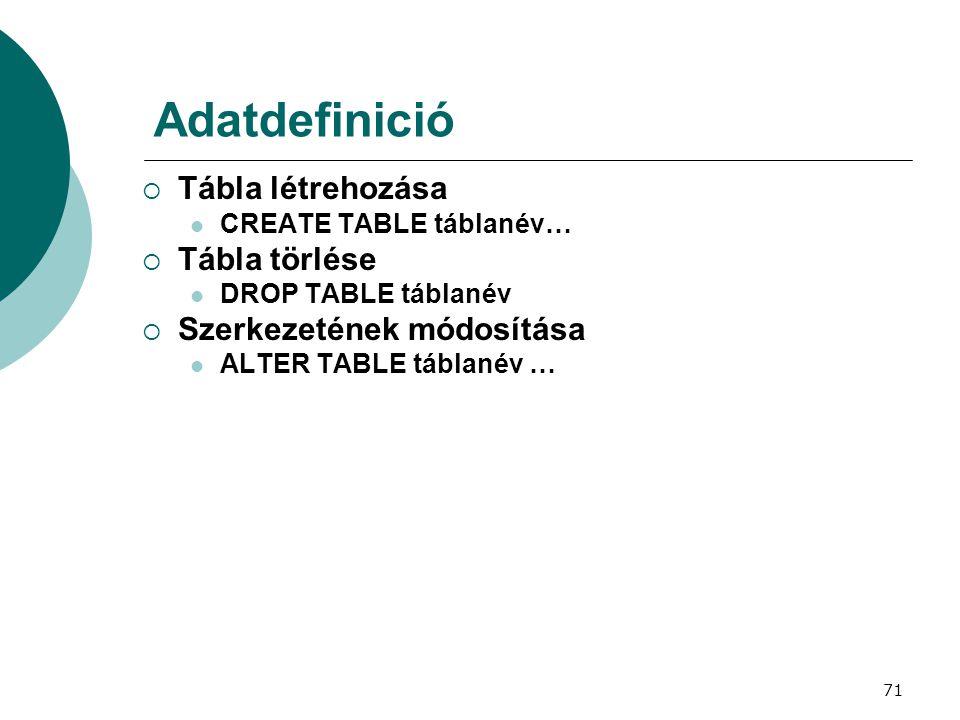 Adatdefinició Tábla létrehozása Tábla törlése Szerkezetének módosítása