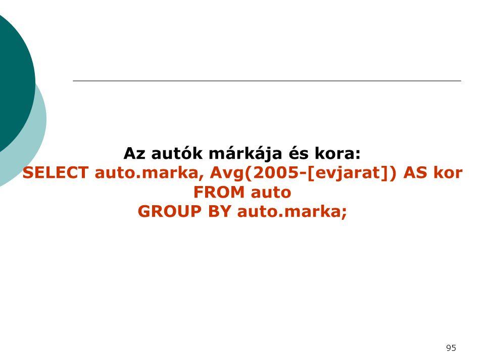 Az autók márkája és kora: